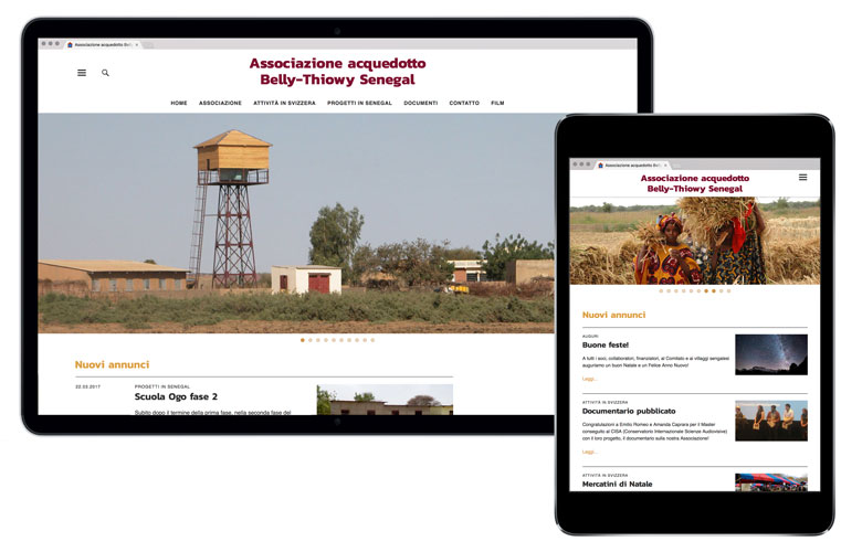 Website for NGO Associazione aquedotto Belly-Thiowy